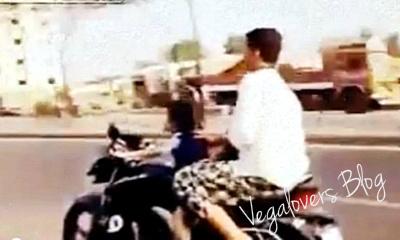 Anak umur 4 tahun sudah diajari naik motor dijalan raya, Edan tenan!
