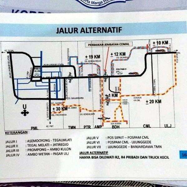 Peta jalur alternatif menghindari perbaikan jembatan Comal - Jawa Tengah