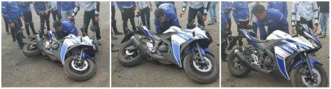 cara aman mendirikan motor yang terjatuh