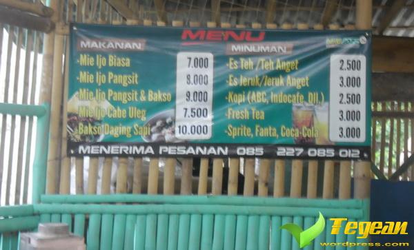 pricelist menu warung mie jozz